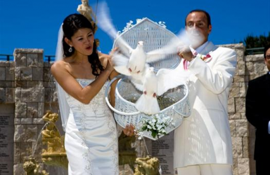Release White Doves From Basket